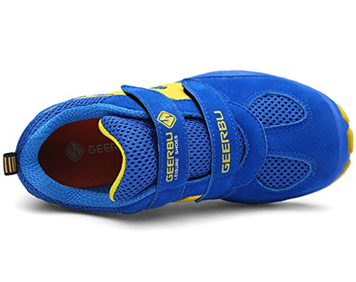 DADAWEN Kid's Breathable Outdoor Hiking Sneakers Strap Athletic Running Shoes Blue/Yellow US Size 13 M Little Kid by DADAWEN (Image #3)
