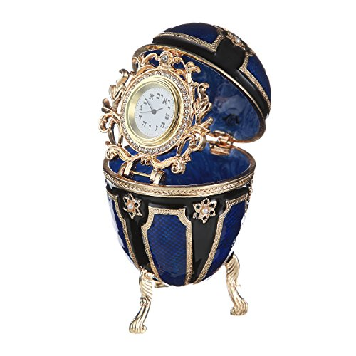 (Faberge Style Jewish Egg / Trinket Jewel Box with Star of David & clock blue)
