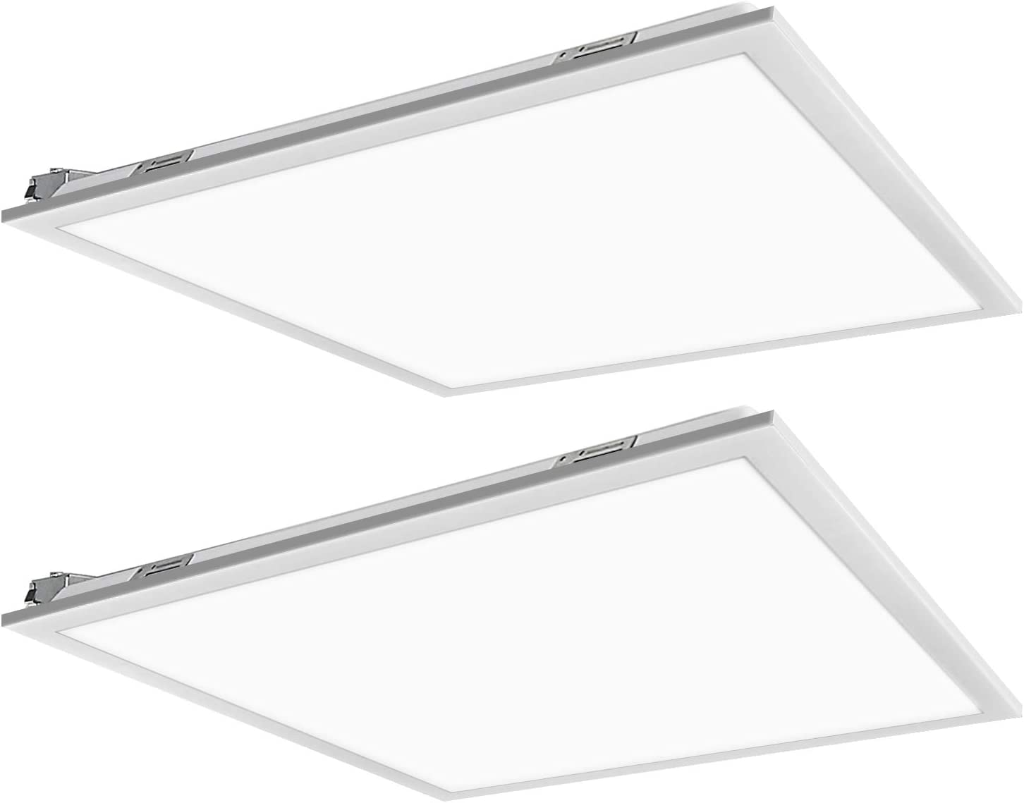 2x2 FT White LED Flat Panel Troffer Light, 40W 4000K Recessed Back-Lit Drop Ceiling Light, 4400lm Lay in Fixture for Office, 0-10V Dimmable, 3-Lamp F17T8 Fixture Replacement, 2 Pack