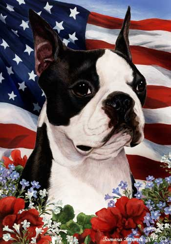 - Boston Terrier Dog Breed Patriotic House Flag 28 x 40 Inches