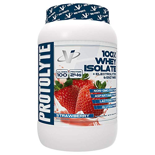 VMI Sports ProtoLyte 100% Whey Isolate Protein Powder Strawberry Milkshake Zero Sugar with Added Electrolytes & Enzymes 1.6lb