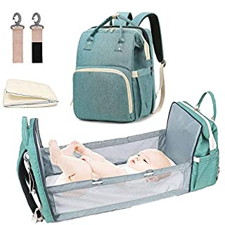 Diaper Backpack With Changing Bed Multifunctional Foldable Baby Bed Waterproof big space for baby (Green)