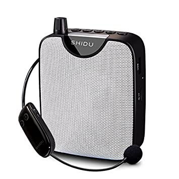 Amplificador de voz portátil inalámbrico, SHIDU Sistema de megafonía recargable con micrófono de auriculares inalámbricos FM, Función de grabación, ...