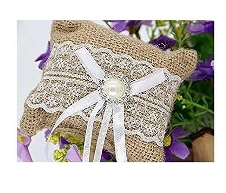 Almohada de anillo para la boda Almohada con cintas de raso 10 x 8 cm