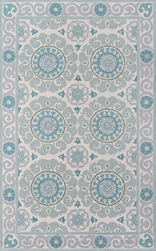 Momeni Rugs Suzani Collection 100% Wool Hand Hooked Traditional Area Rug, 8' x 10', Aqua