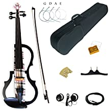 Kinglos 4/4 Gray Red Grid Colored Solid Wood Advanced 3-Band-EQ Electric / Silent Violin Kit with Ebony Fittings Full Size (SDDS1608)