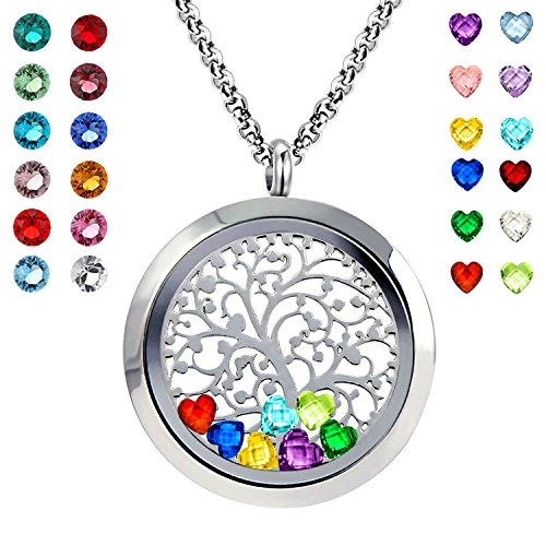 Birthday Stone Necklace - YOUFENG Floating Living Memory Locket Pendant Necklace Family Tree of Life Necklace All Birthstone Charms Include (Polished Family Tree Locket)