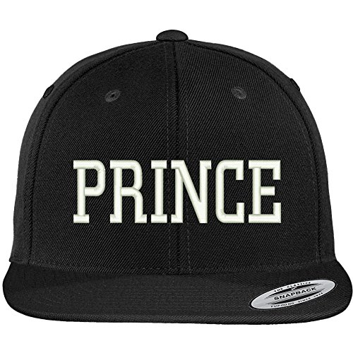 Prince Embroidered Hat - Trendy Apparel Shop Prince Embroidered Flat Bill Adjustable Snapback Cap - Black