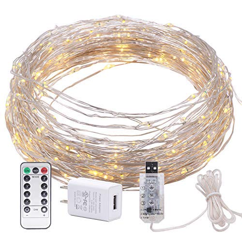 (200 LED Bendable Copper Wire Lights, 8 Modes 66ft Fairy Starry Lights with Timer USB Port and UL Plug in for Wedding Christmas Party Bedroom Indoor Outdoor Decorative (Warm)
