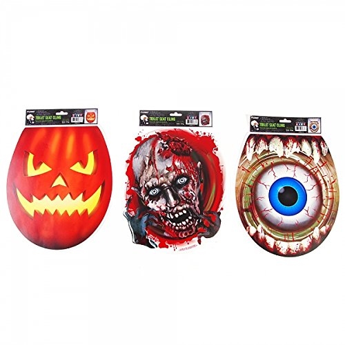 FLOMO Halloween Toilet Seat Cover (3 Pack) Gag Gift, Joke Gift, Funny Gift, Scary Halloween Decoration, Toilet seat -