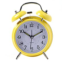 Hense Retro Twin Bell Analog Alarm Clock,Non Ticking Silent Sweeping Movement, Easy To Use, Night Light, Snooze, Extra Loud Alarm - Battery Operated(HM39-006,yellow)