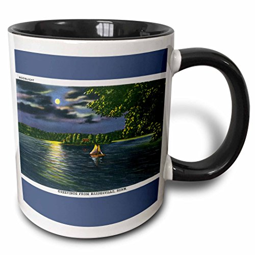 (3dRose BLN Vintage US Cities and States Postcards - Moonlight Greetings from Barnesville, Minnesota Sailboat on the water - 15oz Two-Tone Black Mug (mug_170237_9))