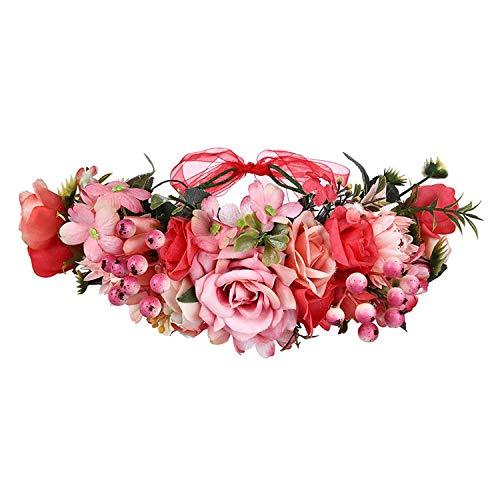 Flower Crown Wedding Bohemian Wreath Headband Party Flower Girl Hair Accessories Flower Headband Garland Headpiece,8 (Christmas Wreath Kohls)