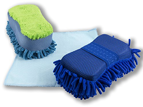 BlizeTec Car Wash Sponge 2 Stylist Microfiber Cleaning Car Scrub Pad And Towel