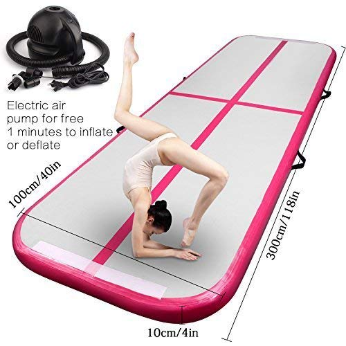 FBSPORT 10ft/13ft/16ft/20ft/23ft/26ft Inflatable Gymnastics Airtrack Tumbling Mat Air Track Floor Mats with Electric Air Pump for Home Use/Training/Cheerleading/Beach/Park and Water (Pink, 9.85)
