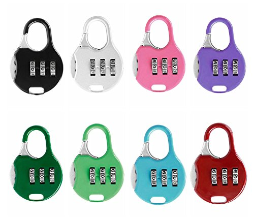 Color Lock - ZPING 3 Digit Combinations Padlock the Safe Cipher Lock Resettable Code Lock, Color Locks (7Pack)