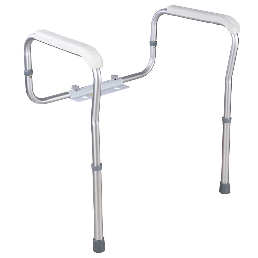 AW Adjustable Toilet Safety Frame Rail 375lbs Grab Bar Support Assist for Elderly Seniors Handicap Disabled