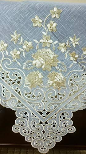 Mikash Embroidered Rose Cutwork 36 Square Embroidery Tablecloth TopperBeige Gold   Model TBLCLTH - 473