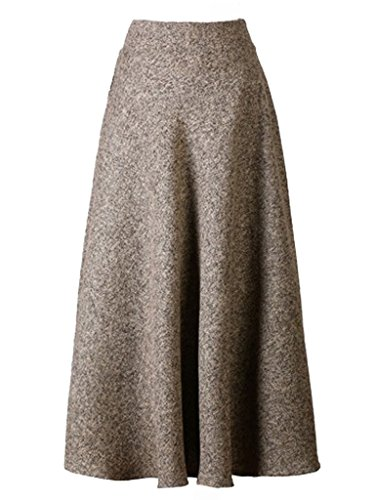 Choies Women's High Waist A-line Flared Long Skirt Midi Cause Skirt S Khaki