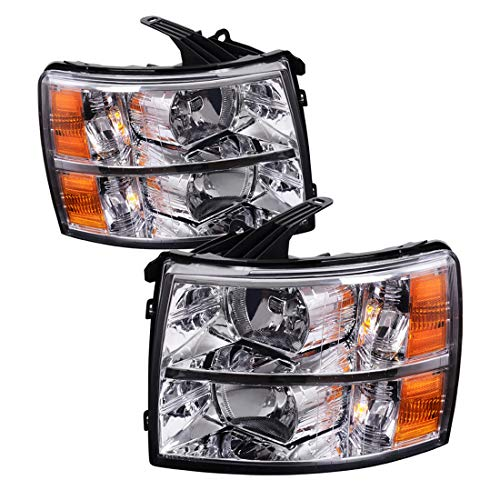 Headlight Assembly Kit for 2007-2014 Chevy Silverado Headlamp Replacement, Driver and Passenger Side, One-Year Warranty Chrome Housing Amber Reflector