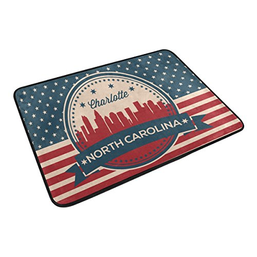 Vintage American Flag North Carolina State Charlotte Skyline Home Decor Non-slip Doormat Floor Door Mat Indoor Outdoor Bathroom Mat 23.6 x 15.7 inch (Carolina Pillow Floor)