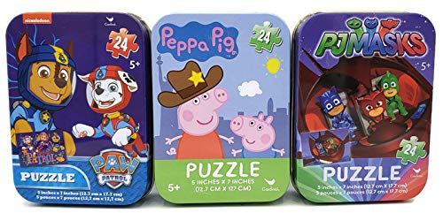 3 Collectible Girls/Boys Mini Jigsaw Puzzles in Travel Tin Cases: Paw Patrol, Peppa Pig, PJ Masks Bundle (24 Pieces Each) ()