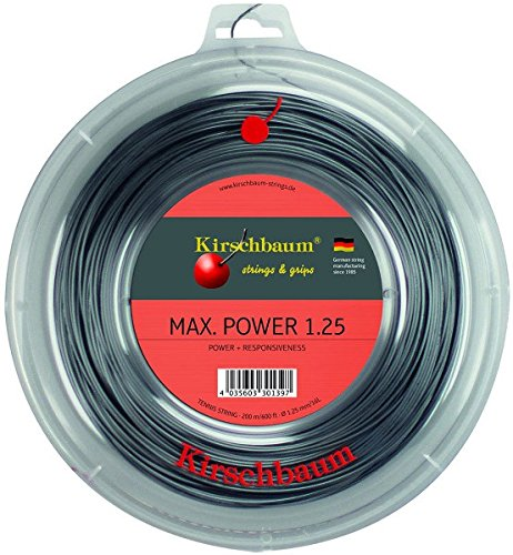 Kirschbaum Reel MAX Power Tennis String, 1.25mm/17-Gauge, Silver Grey