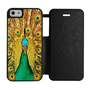 Beautiful peacock on display feather Personalized iPhone 5,5S silicone Rubber and plastic Red&Black&White Shell Case Cover(HD image)