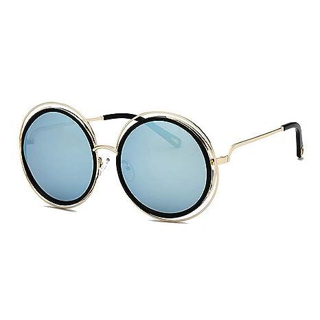KOMEISHO Novedad diseñador Tonos Marco de Metal con Estilo Grandes Gafas de Sol  Redondas para Mujeres 5f91bfa54458