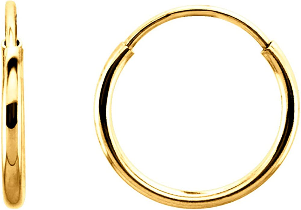 14K Gold Thin Continuous Endless Hoop Earrings, 10-24mm (1mm Tube)