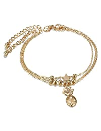 SODIAL 3 Pcs/Set Boho Multilayer Star Pineapple Beads Chain Pendant Anklet Women Creative Crystal Chain Anklet Set Gold