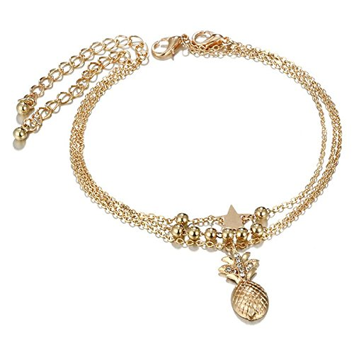 SODIAL 3 Pcs/Set Boho Multilayer Star Pineapple Beads Chain Pendant Anklet Women Creative Crystal Chain Anklet Set Gold 162249A2