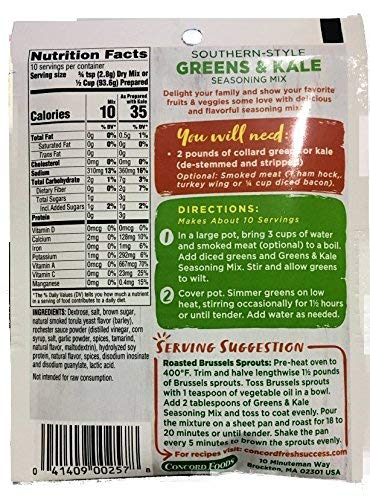 Concord Farms GREENS & KALE SEASONING-Southern Style -18 (eighteen) 1oz packets