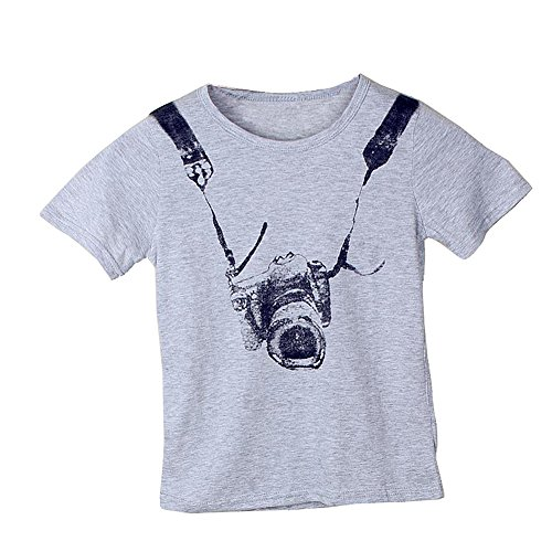Hot Comcrib Summer Kids Boys Girls T-Shirt Dog Pattern Cotton Round Collar Breathable Grey Short Sleeve