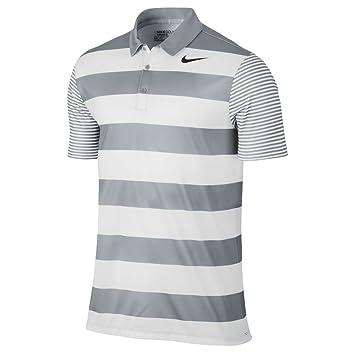 new style 61557 7d9d8 Nike Herren Breathe Bold Stripe Polo-Shirt Golf Shirt, Grau (Wolf Grey