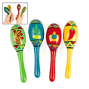 Mini Wooden Fiesta Maracas Assorted color and design (1 dz)