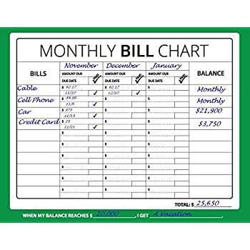 Amazon.com : 16x12 Monthly Bill Chart (Budget, Expense