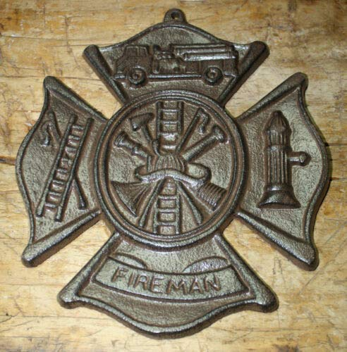 JumpingLight Cast Iron Fireman Plaque Firefighter Symbol Wall Decor Maltese Cross Rustic Cast Iron Decor for Vintage Industrial Home Accessory Decorative Gift