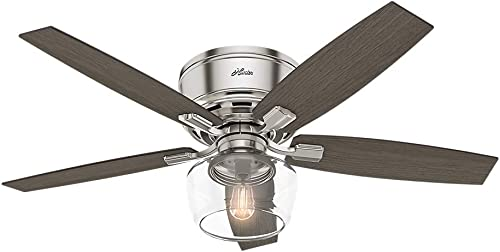 Hunter Fan Company 53394 Hunter Bennett Indoor Low Profile Ceiling Fan with LED Light and Remote Control, 52 , Brushed Nickel