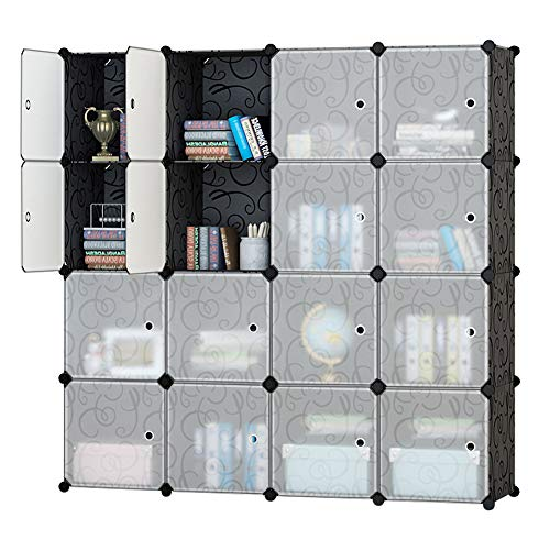 Honey Home Modular Storage Cube Closet Organizers, Portable Plastic DIY Wardrobes Cabinet Shelving with Easy Closed Doors for Bedroom/Office / Garage - 16 Cubes Black & White