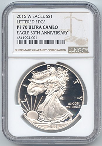 2016 W Proof American Eagle Silver Brown Label 1 OZ PF-70 NGC Ultra Cameo