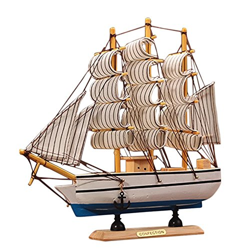 Kangkang@ Wooden Ship Model Miniatur Marine Wood Maritime Boat Nautical Sailing Ship Home Desk Decoration Decor Crafts Random Base Color