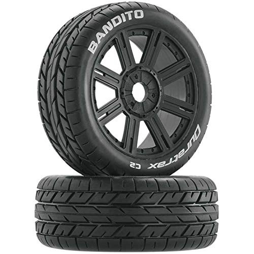 (Duratrax Bandito 1:8 Scale RC Buggy Tires with Foam Inserts, C2 Soft Compound, Mounted on Black Wheels (Set of 2))