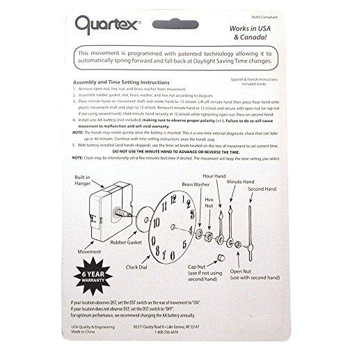 Quartex Set Forget Clock Movement Set 3 4 Max Dial Thickness Black 3 1 2 Hands