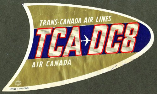 Trans-Canada Air Lines TCA DC-8 baggage sticker