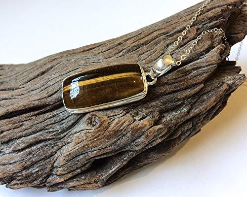 Tiger eye rectangle shaped sterling silver - Tiger Eye Pendant Rectangle