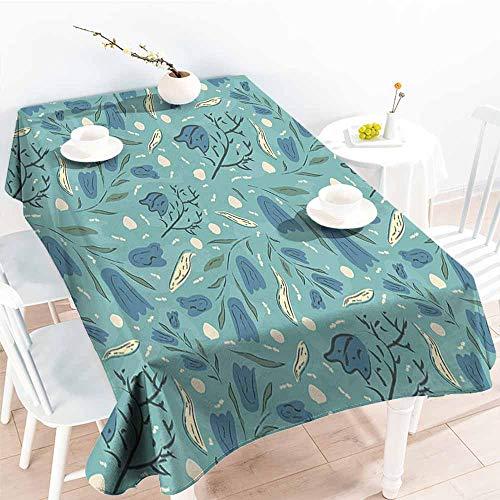 Onefzc Spill-Proof Table Cover,Seafoam Hand Drawn Aquarelle with Floral Motifs Leaves Stalks Bell Flowers,Modern Minimalist,W54x72L Seafoam Night Blue Ivory