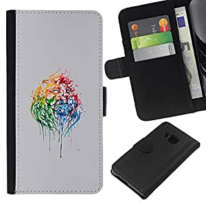 KLONGSHOP // Tirón de la caja Cartera de cuero con ranuras para tarjetas - Psychedelic Rainbow Lion - HTC One M9 //