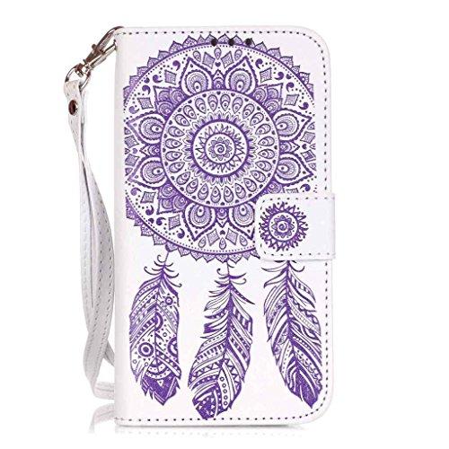 Uming® Gofrado Dreamcatcher Flor Campanula Patrón Especial de la serie de impresión colorida caja de la PU de la pistolera Caso Holster case ( White-Purple - para IPhone6SPlus IPhone 6SPlus 6Plus IPho White-Purple