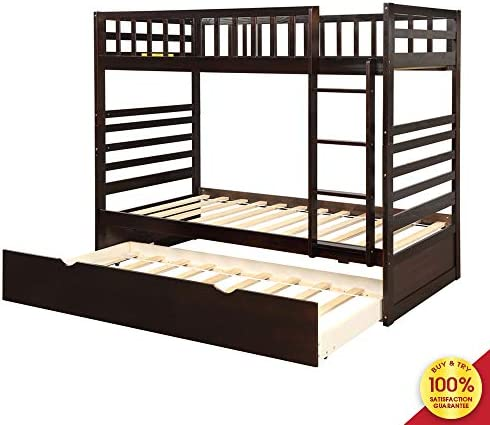Romatlink Twin Captain's Bed Storage Daybed, Twin Bunk Bed with Trundle Solid Wood Bunk Bed in Espresso Finish, Wood Captain Bed, for Furniture, Family, Guests, Bedroom